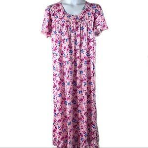 Dreams & Co Long Night Gown Sz 18/20 1X Pink Blue